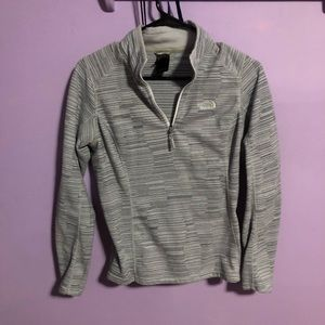 The North Face grey striped 1/4 zip pull over